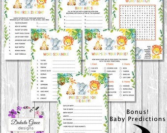 JUNGLE Baby Shower GAMES PACKAGE, 5x Baby Jungle Printable Games, Watercolor Floral, Predictions, Word Search, Scramble, Purse Game