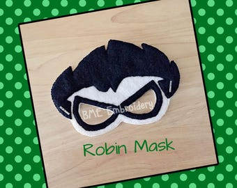 Robin Felt Mask- Child's Dress Up and Imaginary Play- Birthday Party Favor-Photo Shoot-Theme Party-Teen Titan Party-Teen Titan Mask