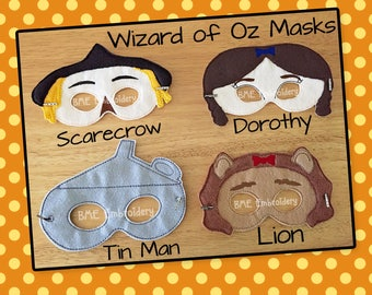 Wizard of Oz Inspired Felt Masks- Scarecrow-Lion-Tin Man- Dorothy-Child's Dress Up Imaginary Play- Birthday Party Favor-Photo-Theme Party