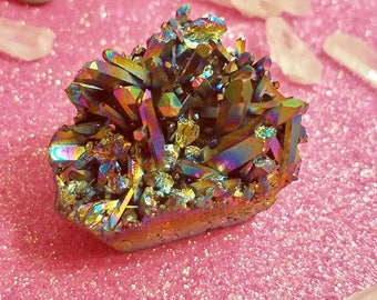 Magical Titanium Aura Cluster BEAUTIFUL!!Titanium Colorful Drusy Geode Stone