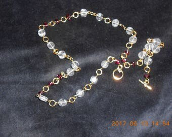 natural crystal,garnet chained necklace