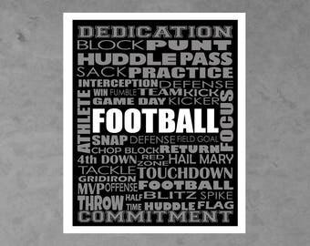 Black and Silver Editable Football Print, Football Digital Print, Football, Football Wall Art, Football Decor, Football Printable, Team Gift