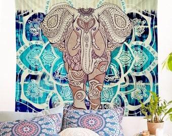 Indian Elephant Lotus Tapestry Decorative Mandala Hippie Boho Yoga Wall Hanging Carpet Bohemia Beach Blanket Aubusson Bed Cover Home Decor