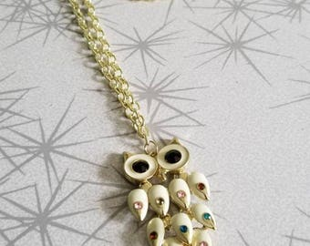 Gold owl long necklace