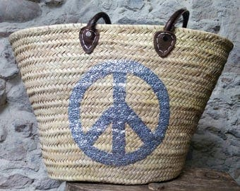 Basket handles leather - basket - nature - natural fibers - boho style - hippie chic - gypsy style - peace and love - money - chic bohemian