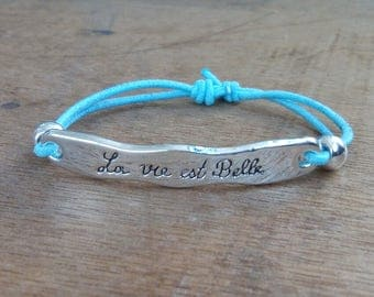 Bracelet - adjustable - life is beautiful - blue - silver - steel stainless - bohostyle - Bohemian - gypsy - Beach - surf - gypsystyle