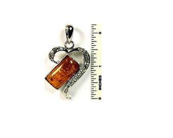 Dark Amber and Cubic Zirconia Heart necklace Pendant