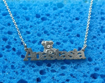 Custom word necklace/ Name Jewelry/ Children Names Necklace/ Personalized Name Necklace/ Anastasia name necklace with panda /sterling silver