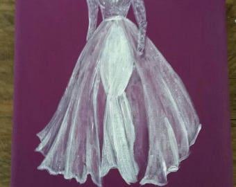 Boutique Lace Wedding Dress Canvas Painting