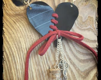 heart and quote in mini-bouteille glass necklace made from vinyl record