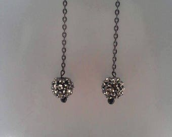 Black and Silver spiked ball dangle earrings