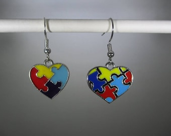 Autism heart, puzzle piece, multi-colored, dangle earrings, 2 different charms/pendants, you pick