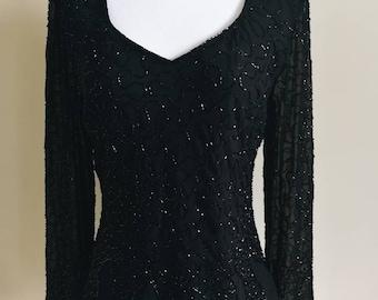 All Black Beaded Top