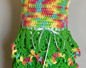Rainbow pineapple crochet dress, Pineapple crochet dress