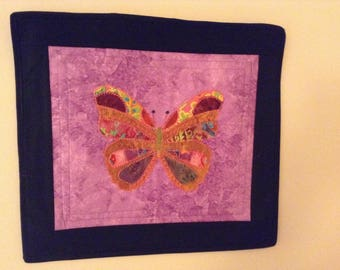 Quilted Butterfly Wall Hanging/Nursery Wall hanging/Purple Wall hanging