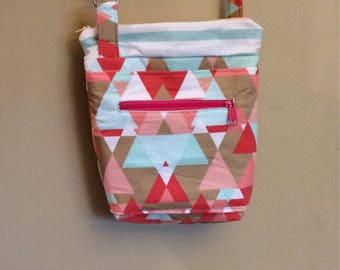 Coral, mint, and gold triangles cross body bag with adjustable strap