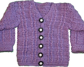 Hand made crocheted baby sweaters 6 to 12 months Purple