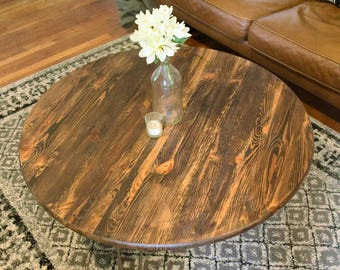 Round Rustic Wooden Coffee Table with Metal Hairpin Legs