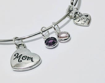 Mom Bracelet, Mother's Bracelet, mom jewelry, mother's day gift, gift for Mom, Birthstone jewelry, children's birthstone bracelet, mommy, ma