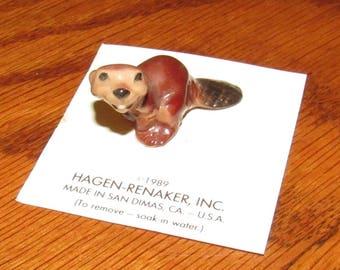 Vintage Hagen Renaker Miniature Beaver, Paws Down, Figurine on Card