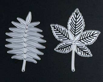 2Pcs/Set Metal Leaves Cutting Dies Stencils Maple Leaf Scrapbooking Decorations Die Cuts Template for Sizzix DIY Embossing Decor Crafts