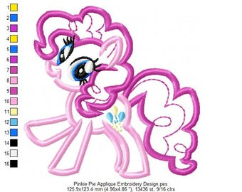 Pinkie Pie Applique Embroidery Design - INSTANT DOWNLOAD