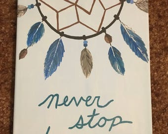 Never Stop Dreaming dreamcatcher- handpainted