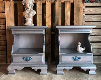 Metallic Navy Nightstands / End Tables