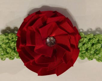 Baby Headband Green and Red
