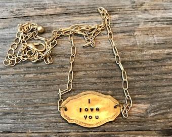 I love you plaque necklace