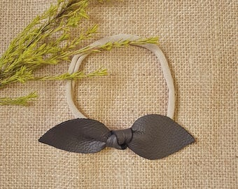 BROWN | Leather Knot Headband with soft Nylon Band | GENUINE leather | Headband Knot Bow