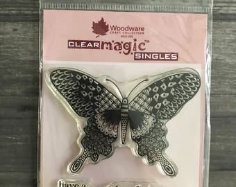 Woodware Clear Butterfly Stamp