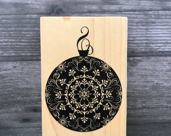 Large Oriental Christmas Ornament Wooden Stamp