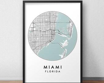 Miami City Print, Street Map Art, Miami Map Poster, Miami Map Print, City Map Wall Art, Miami Map, Travel Poster, Florida,  City Map Print