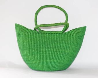 Green Woven Large Basket Bag