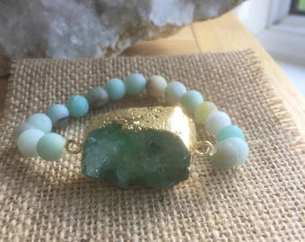 Frosted amazonite with druzy Quartz agate