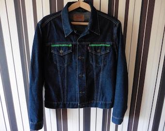LEVI STRAUSS Denim Jacket/Dark Blue Button UP Jacket/Jacket With Green Decoration/Long sleeve Jacket