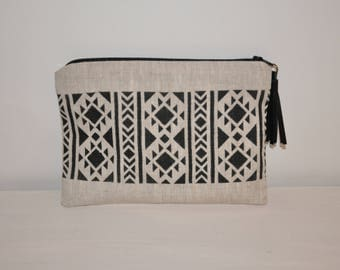 Pouch / ethnic bag Aztec linen with leather tassel
