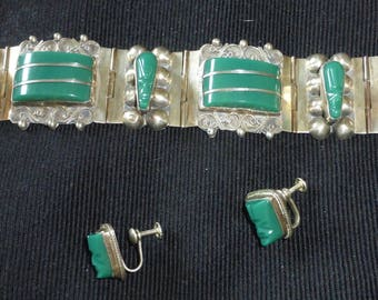 Vintage Taxco RESIN panel bracelet & earrings...warrior masks...