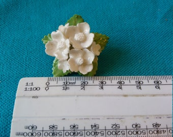 Unusual vintage White china flower Brooch