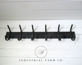 "Wall Mounted Coat Rack with Hooks – Steel Farmhouse Coat Rack in 5 Lengths for your Farmhouse Decor  3"" Flat Bar with 1/2"" Wide Hooks"