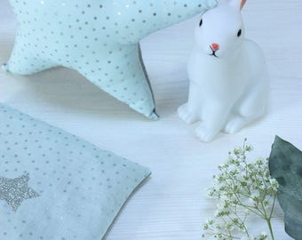 Star pillow case + water bottle green fabric water cherry kernel