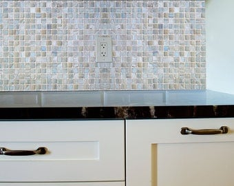 Self Adhesive Peel and Stick DIY Blue/Brown Mosaic Tile Background / Includes Tools