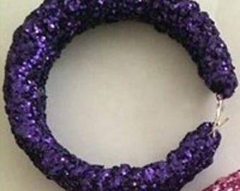 Glitter violet purple crystal hoop earrings