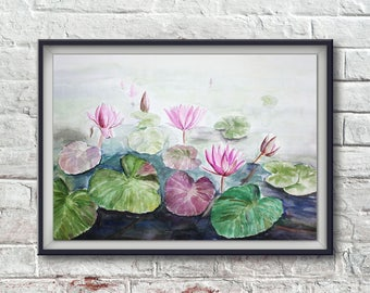 Watercolor painting lotus flowers
