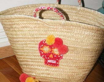 Basket customized Tote calavera tassel liberty beach straw Beach basket