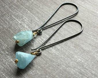 Aquamarine Earrings - Gemstone Drop Earrings - Blue Gemstone Earrings - Aquamarine Drop Earrings - Everyday Earrings - Aquamarine Jewelry