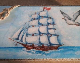 Wooden box sea memories,Decoupage box,Jewelry box,Gift box,Jewelry storage,Storage box