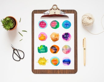 Printable Stickers // Positive Affirmations, Positive Stickers, Self Care Stickers, Self Care Gift, Colourful Stickers, Stationery