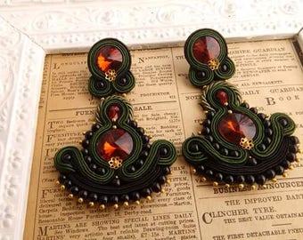 soutache earrings with swarowski crystals
